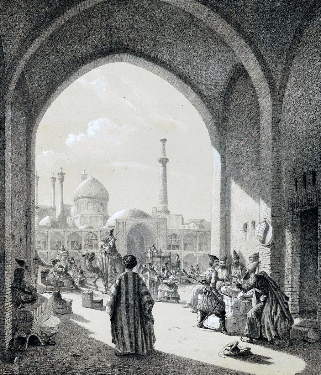 A_caravanserai_in_Isfahan_by_Eugène_Flandin